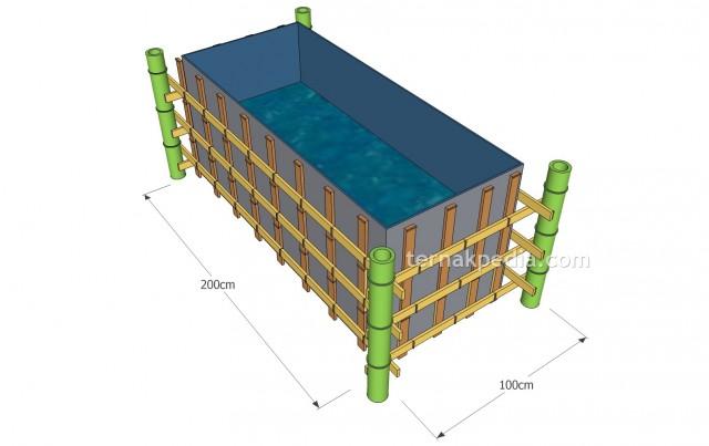 Contoh ilustrasi pemasangan terpal poda kerangka bambu