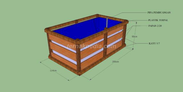 desain kolam terpal dengan kerangka kayu